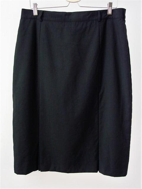 fusta second hand stofa neagra subtire simpla clasica office pe corp pana la genunchi