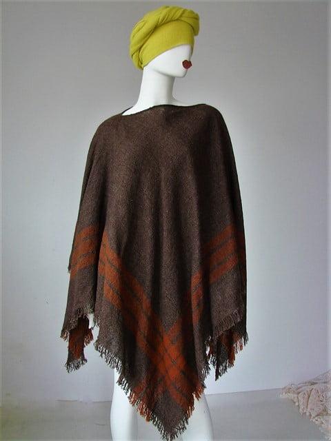 poncho vintage tesut lana maro dungi roscate franjuri colturi