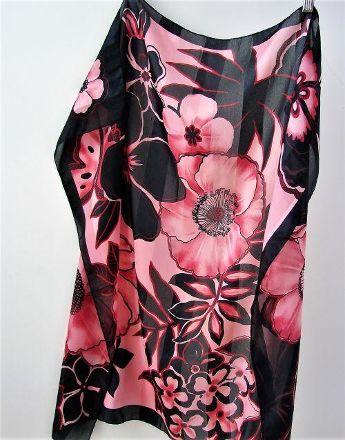 esarfa vintage patrata neagra roz flori Italia
