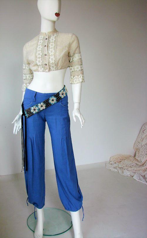pantaloni second hand dama anii 2000 talie joasa albastri