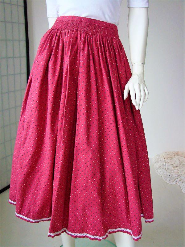 Fusta vintage midi creata ampla panza bumbac roz inchis floricele alb bleumarin