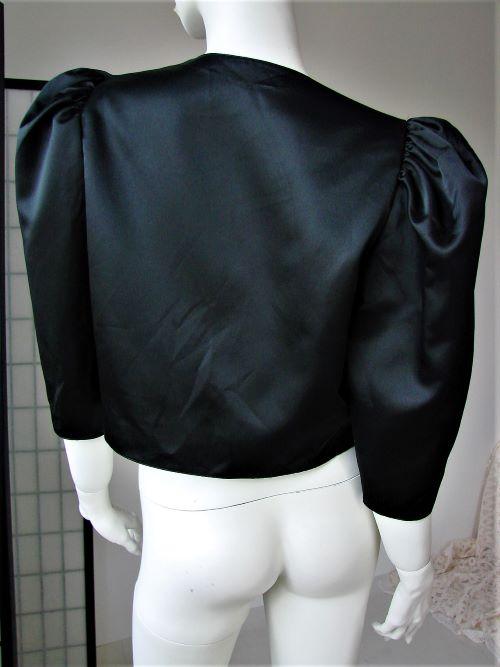 Bolero sacou scurt satin negru umeri spectaculosi elegant ocazie vintage anii 80