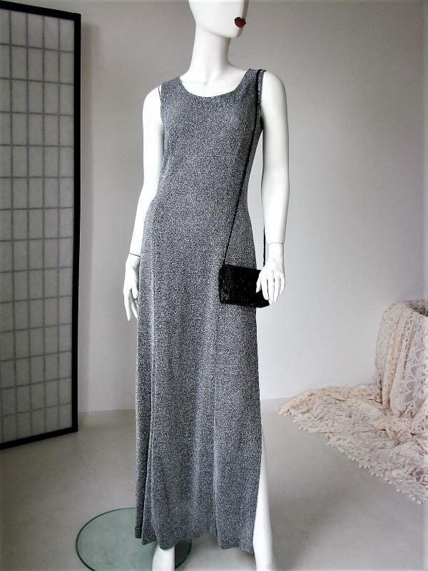 Rochie vintage lunga argintie pe corp despicata pe picior sexi eleganta ocazie