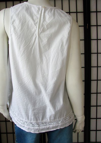 Top alb second hand bumbac subtire larg dantela broderie Old Navy