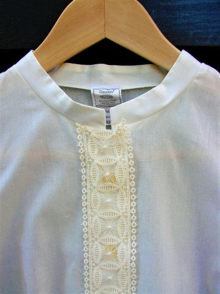 Camasa vintage dama alba vanilie broderie maneca clopot marime L