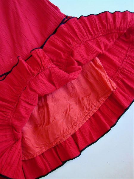 Fusta vintage midi rosie panza topita volane