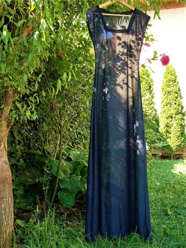 Rochie vintage sexi lunga transparenta bleumarin lucioasa
