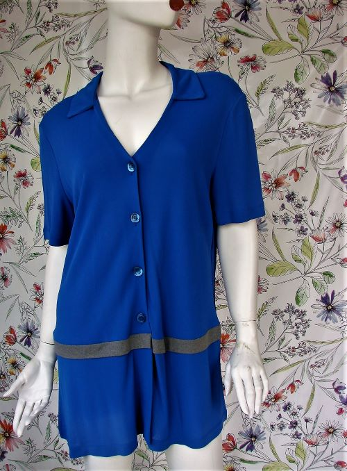 Blazer vintage albastru subtire lung maneca scurta Italia