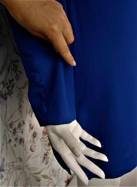 Bluza eleganta bleumarin larga maneca lunga vintage anii 80 marime L/XL