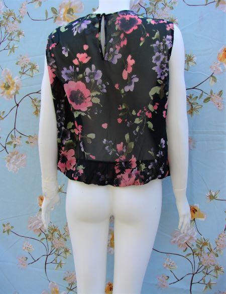 Bluza neagra flori roz mov voal subtire fara maneci Orsay