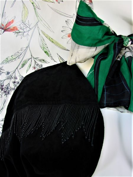 Bolero vintage negru catifea bumbac franjuri Franta