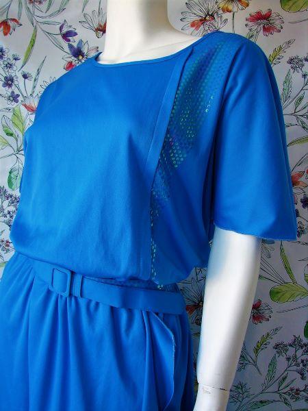 Rochie vintage anii 80 albastra lunga eleganta petrecere marime S sau M