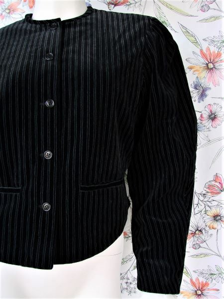 Sacou negru catifea dungulite gri umeri spectaculosi vintage anii 80