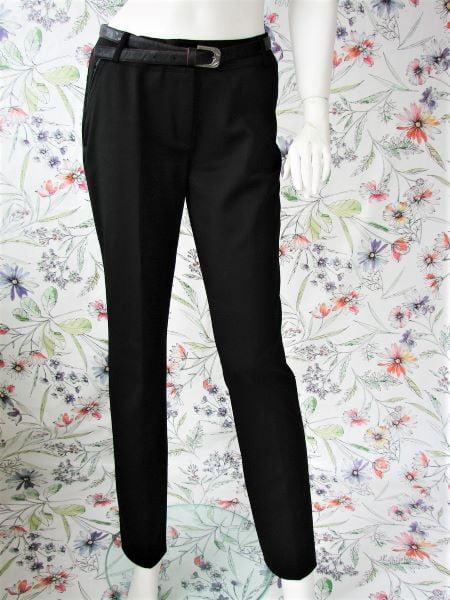 Pantaloni negri dama second hand la dunga stil office buzunare curea inclusa