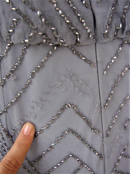 Rochie second hand lunga bretele tul gri argintie