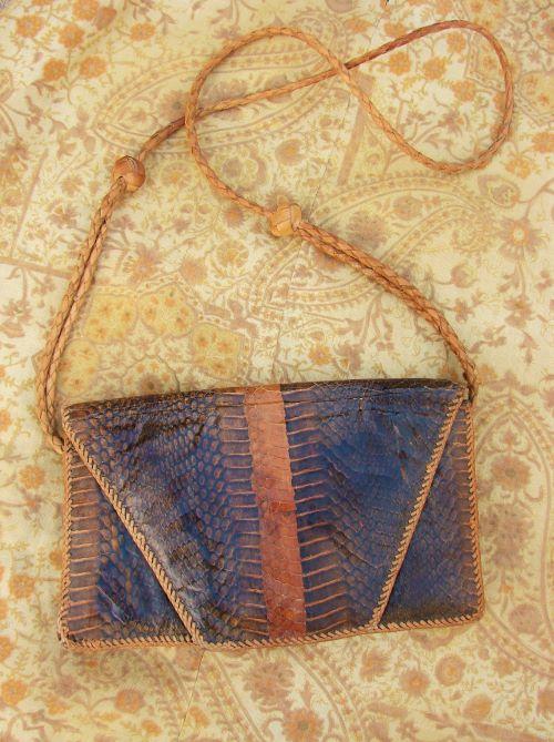 Geanta vintage de umar piele sarpe maro