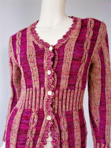 Cardigan gros tricotat trandafiriu crem second hand