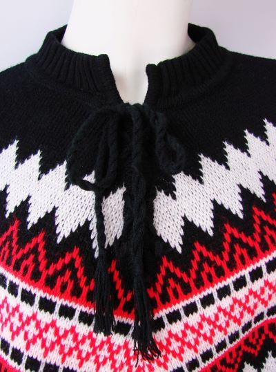 Poncho gros tricotat negru alb rosu vintage