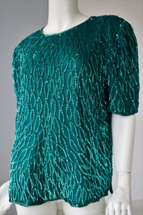Bluza vintage verde paiete