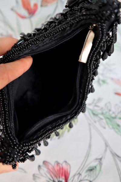 Clutch plic vintage negru paiete