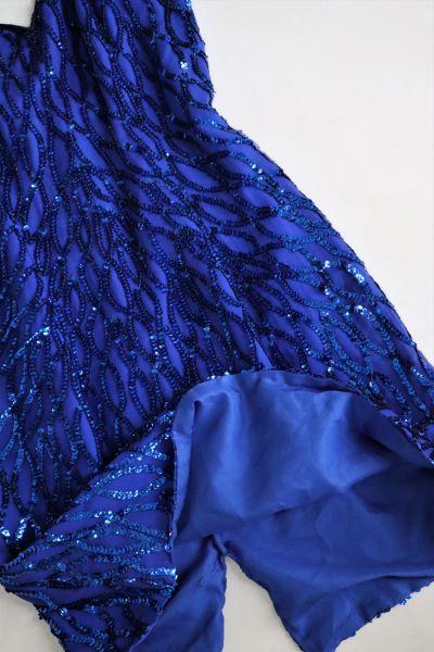 Rochita fetite scurta albastra paiete marime XS/XXS