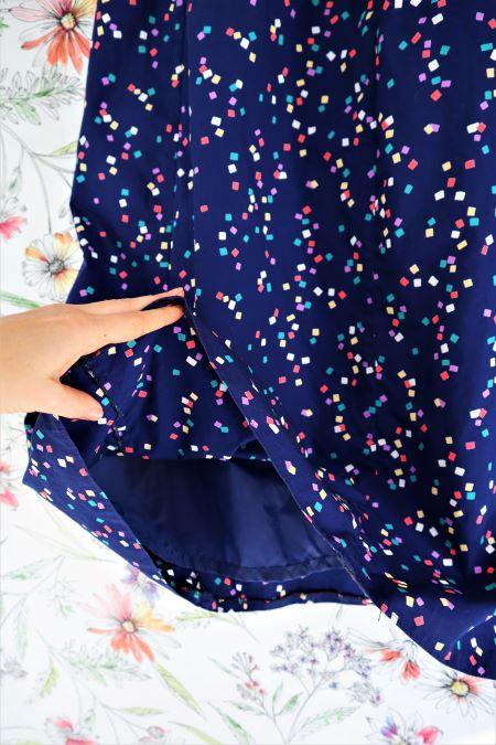 Fusta vintage midi bumbac bleumarin imprimeu confetti
