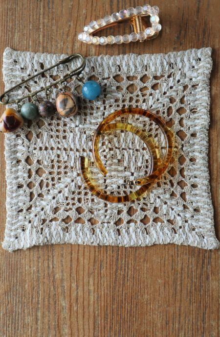 Suport decoratiune pahare ieftintextil crem handmade vintage