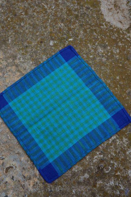 Suport servet mic textil albastru ecosez vintage
