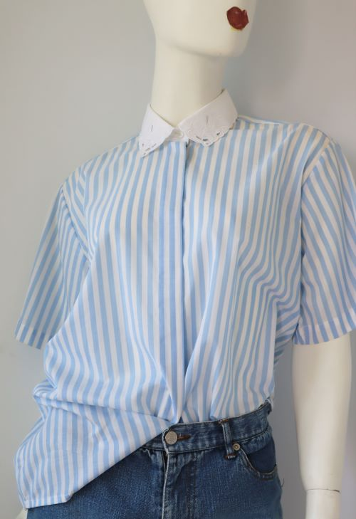 Camasa vintage dama alba bleu dungi guler broderie