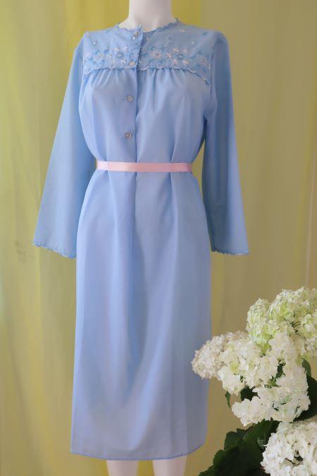 Camasa de noapte subtire bleu