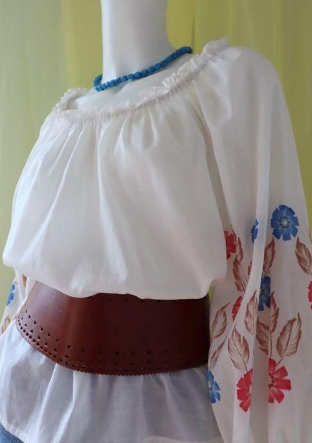 Bluza alba flori vintage populara traditionala
