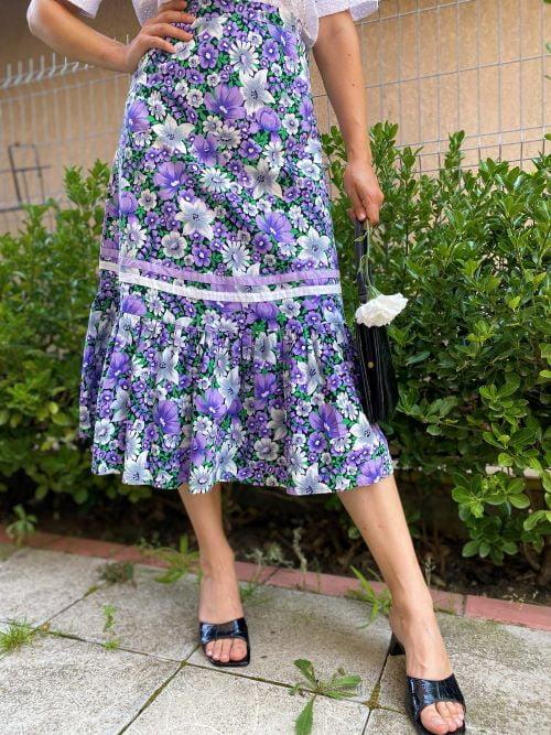 Fusta vintage bumbac flori
