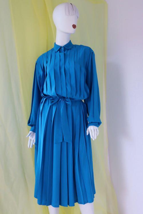 Rochie vintage albastru cobalt plisata midi maneca lunga