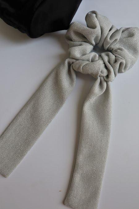 Elastic par panglici gri argintiu sclipici