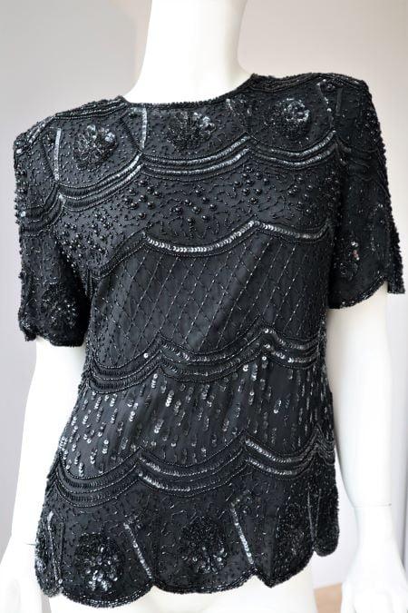 Bluza neagra paiete vintage anii 80