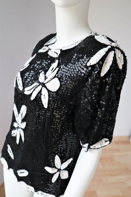 Bluza paiete alb - negru vintage anii 80