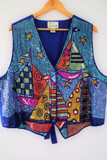 Vesta vintage colorata paiete vapoare
