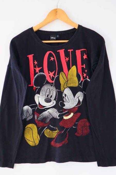 Bluza neagra bumbac Mickey Minnie Mouse Disney second hand