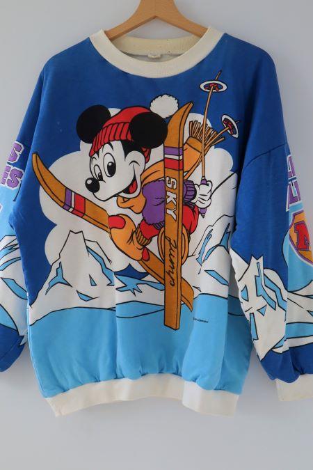 Bluza groasa vatuita vintage Disney Mickey la ski