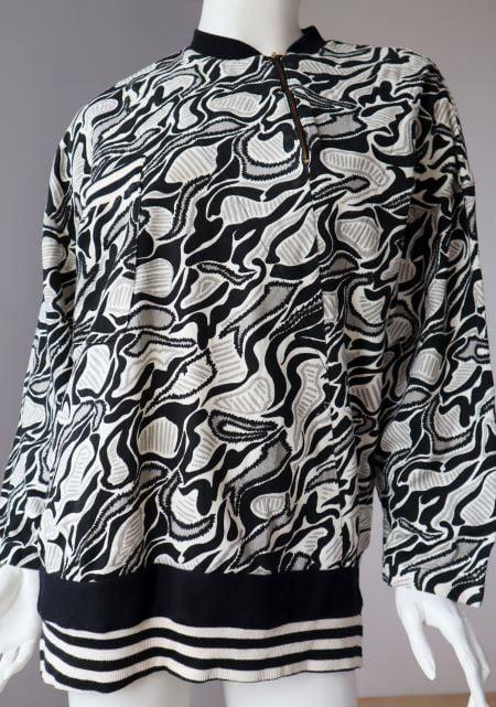 Bluza larga bumbac alb negru gri vintage