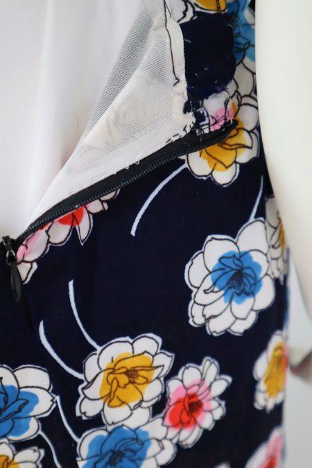Fusta vintage bleumarin flori colorate jerse elastic