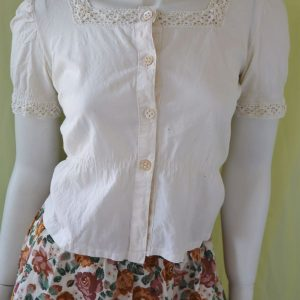 Bluza vintage din in si dantela de bumbac