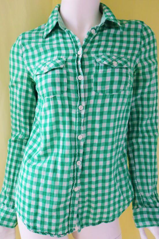 Camasa dama H&M verde patratele second hand