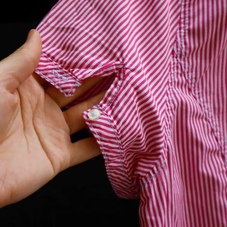 Camasa femei bumbac rosie alba dungulite maneca scurta second hand