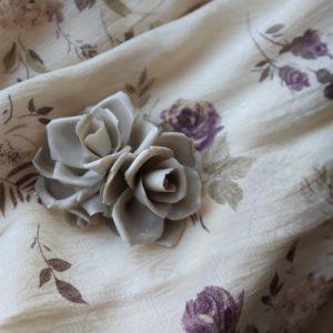 Trandafir mic portelan alb ornament decor vintage