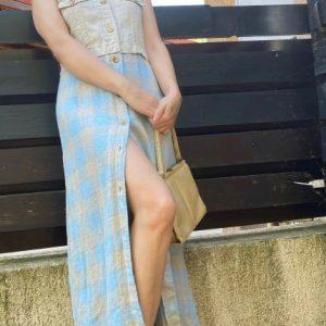 Rochie lunga din in crem bleu second hand