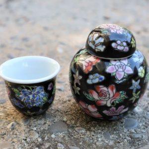 Set sticluta paharel portelan obiect decor