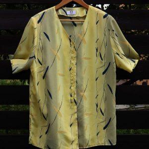 Bluza eleganta subtire vascoza galben gri frunzulite second hand