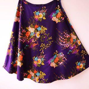 fusta vintage anii 70 mov flori