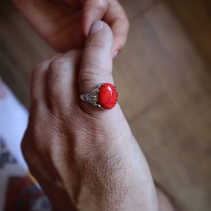 inel argintiu piatra rosie femei barbati